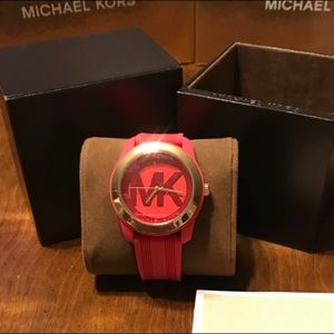 Michael Kors hot pink silicone watch new in box